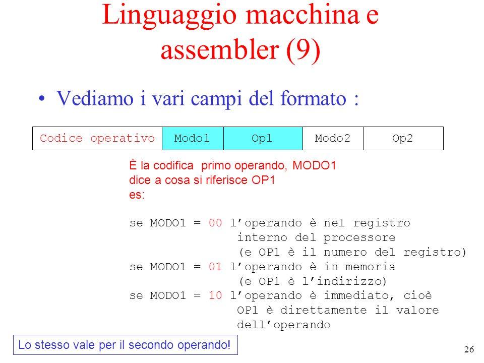 26 Linguaggio macchina e assembler (9) Vediamo i vari campi del formato : Codice operativoModo1Op1Modo2Op2 È la codifica primo operando, MODO1 dice a cosa si riferisce OP1 es: se MODO1 = 00 loperando è nel registro interno del processore (e OP1 è il numero del registro) se MODO1 = 01 loperando è in memoria (e OP1 è lindirizzo) se MODO1 = 10 loperando è immediato, cioè OP1 è direttamente il valore delloperando Lo stesso vale per il secondo operando!