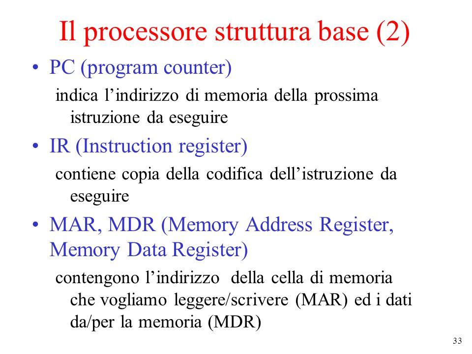 33 Il processore struttura base (2) PC (program counter) indica lindirizzo di memoria della prossima istruzione da eseguire IR (Instruction register) contiene copia della codifica dellistruzione da eseguire MAR, MDR (Memory Address Register, Memory Data Register) contengono lindirizzo della cella di memoria che vogliamo leggere/scrivere (MAR) ed i dati da/per la memoria (MDR)