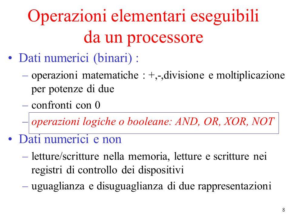 8 Operazioni elementari eseguibili da un processore Dati numerici (binari) : –operazioni matematiche : +,-,divisione e moltiplicazione per potenze di due –confronti con 0 –operazioni logiche o booleane: AND, OR, XOR, NOT Dati numerici e non –letture/scritture nella memoria, letture e scritture nei registri di controllo dei dispositivi –uguaglianza e disuguaglianza di due rappresentazioni