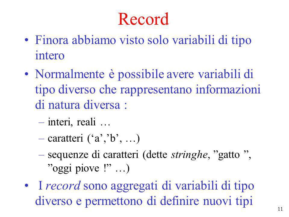 11 Record Finora abbiamo visto solo variabili di tipo intero Normalmente è possibile avere variabili di tipo diverso che rappresentano informazioni di natura diversa : –interi, reali … –caratteri (a,b, …) –sequenze di caratteri (dette stringhe, gatto, oggi piove .
