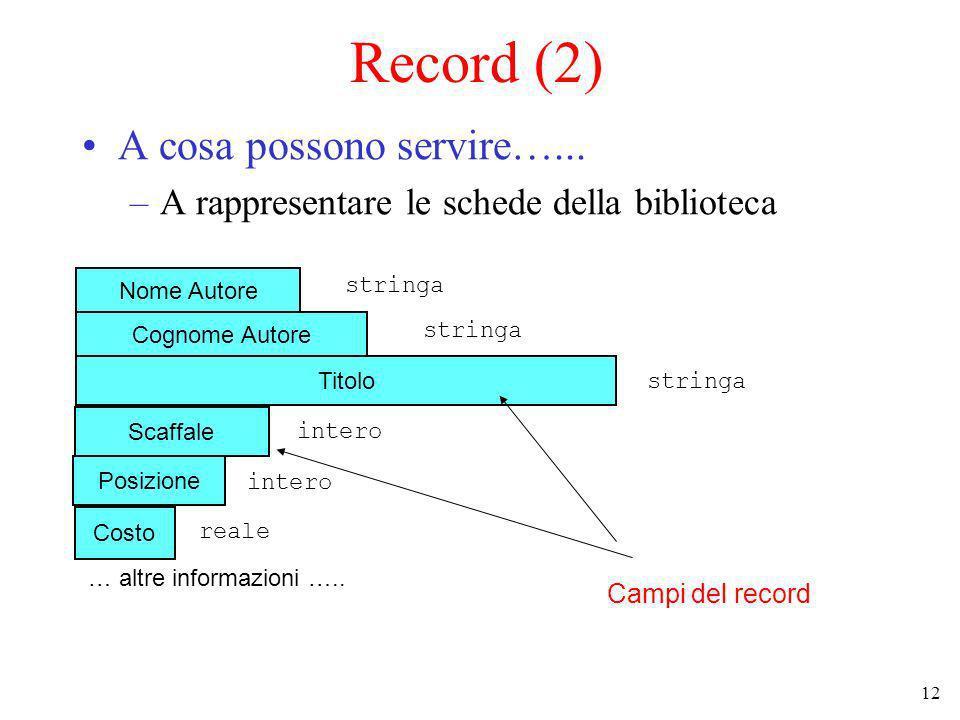 12 Record (2) A cosa possono servire…...