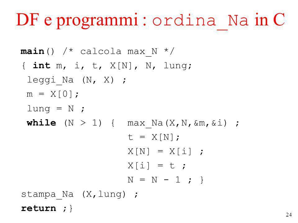 24 DF e programmi : ordina_Na in C main() /* calcola max_N */ { int m, i, t, X[N], N, lung; leggi_Na (N, X) ; m = X[0]; lung = N ; while (N > 1) { max_Na(X,N,&m,&i) ; t = X[N]; X[N] = X[i] ; X[i] = t ; N = N - 1 ; } stampa_Na (X,lung) ; return ;}
