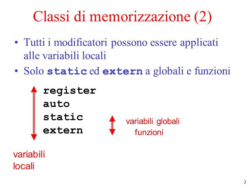 3 register auto static extern variabili locali funzioni variabili globali Classi di memorizzazione (2) Tutti i modificatori possono essere applicati alle variabili locali Solo static ed extern a globali e funzioni