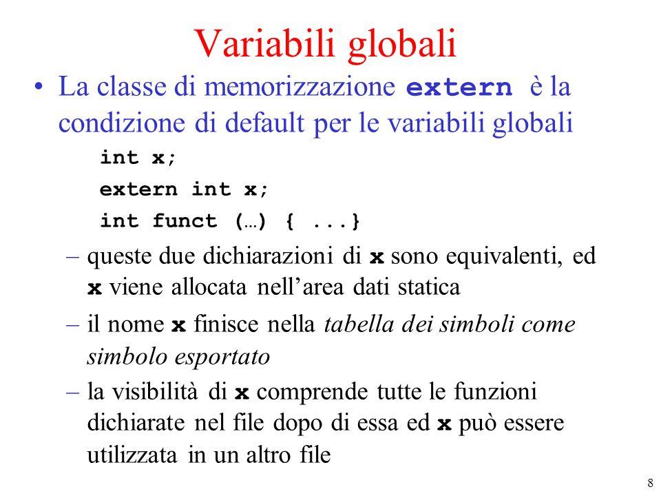 8 Variabili globali La classe di memorizzazione extern è la condizione di default per le variabili globali int x; extern int x; int funct (…) {...} –queste due dichiarazioni di x sono equivalenti, ed x viene allocata nellarea dati statica –il nome x finisce nella tabella dei simboli come simbolo esportato –la visibilità di x comprende tutte le funzioni dichiarate nel file dopo di essa ed x può essere utilizzata in un altro file