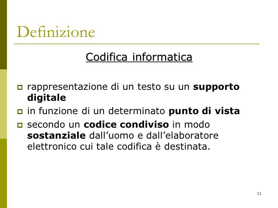 11 Definizione Codifica informatica rappresentazione di un testo su un supporto digitale in funzione di un determinato punto di vista secondo un codic