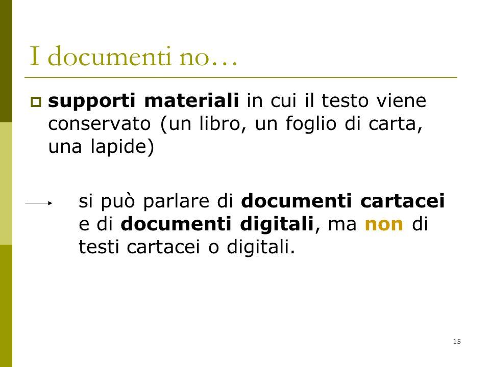 15 I documenti no… supporti materiali in cui il testo viene conservato (un libro, un foglio di carta, una lapide) si può parlare di documenti cartacei