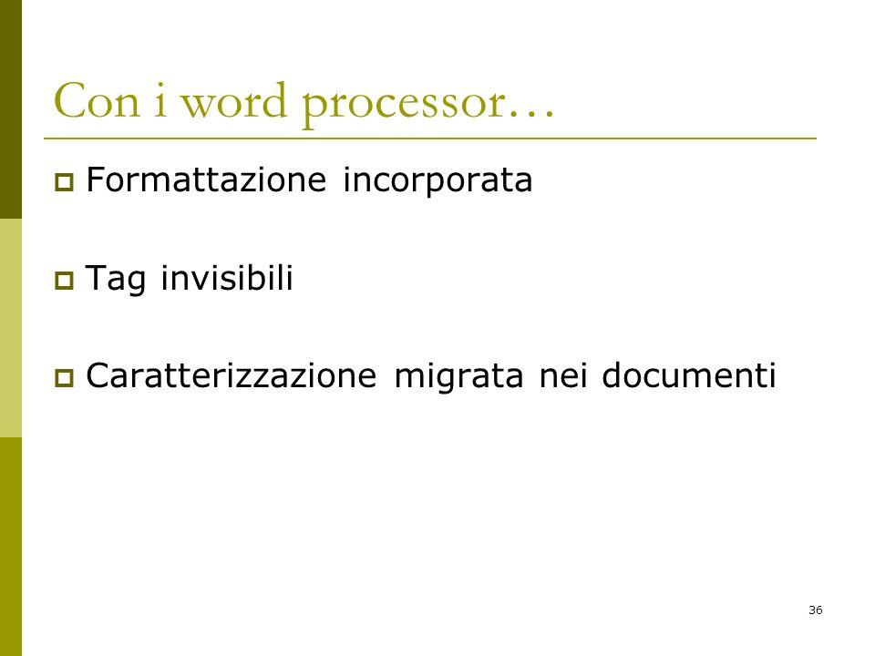 36 Con i word processor… Formattazione incorporata Tag invisibili Caratterizzazione migrata nei documenti