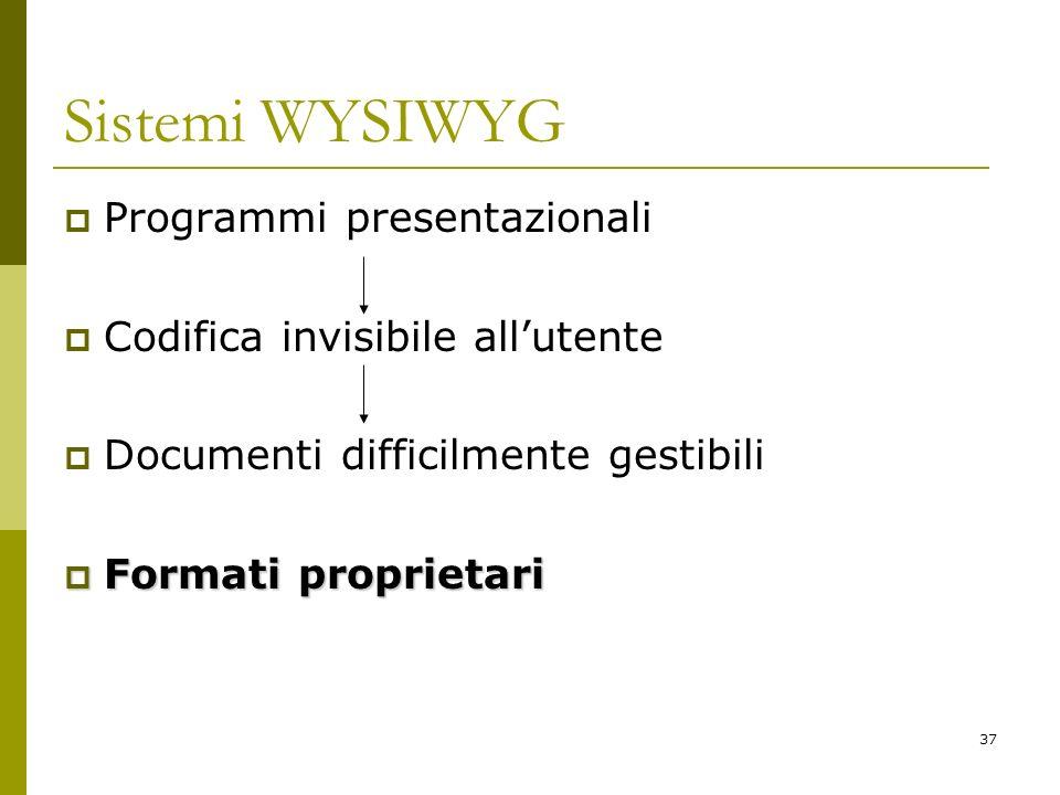 37 Sistemi WYSIWYG Programmi presentazionali Codifica invisibile allutente Documenti difficilmente gestibili Formati proprietari Formati proprietari