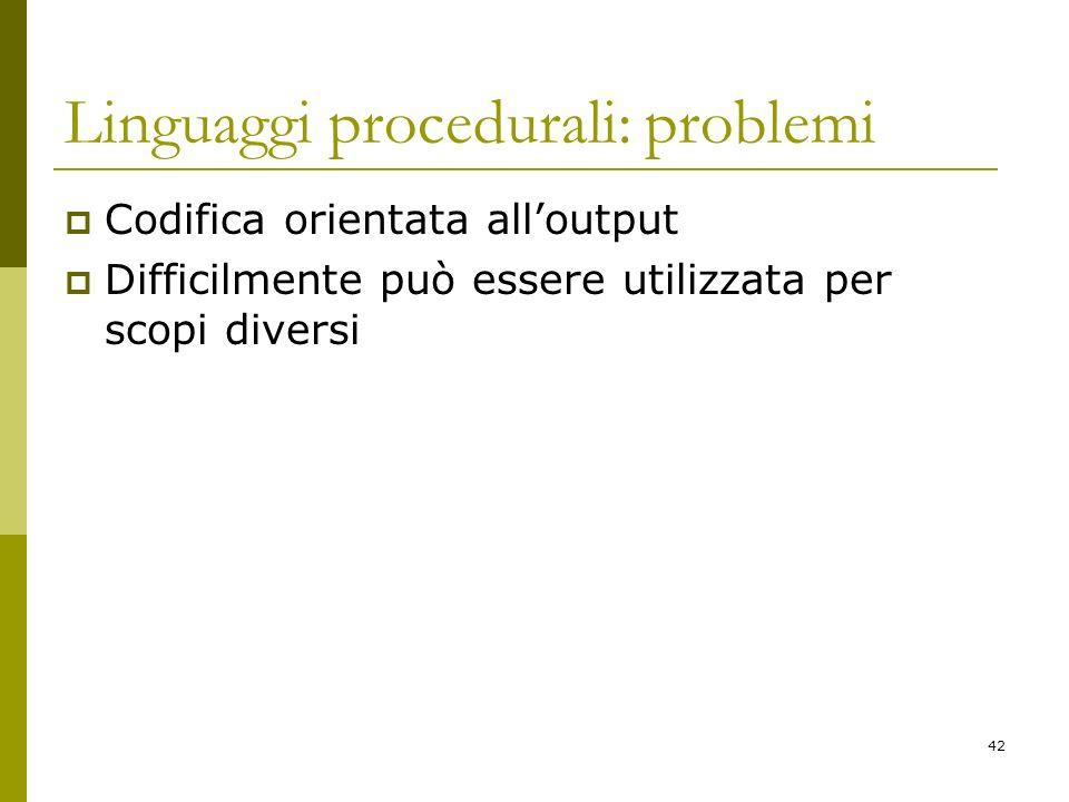 42 Linguaggi procedurali: problemi Codifica orientata alloutput Difficilmente può essere utilizzata per scopi diversi