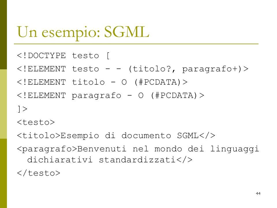 44 Un esempio: SGML <!DOCTYPE testo [ ]> Esempio di documento SGML Benvenuti nel mondo dei linguaggi dichiarativi standardizzati