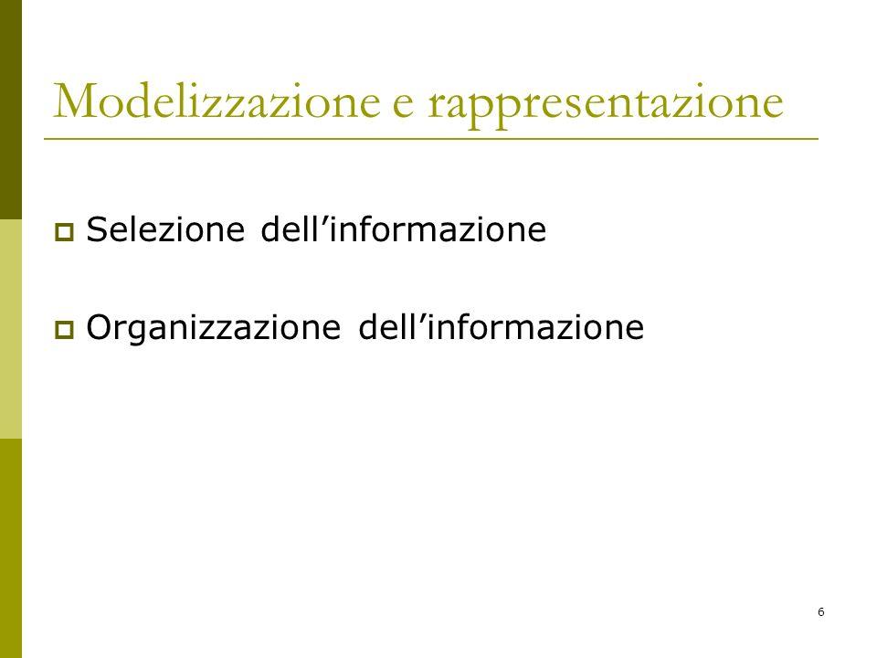 6 Modelizzazione e rappresentazione Selezione dellinformazione Organizzazione dellinformazione