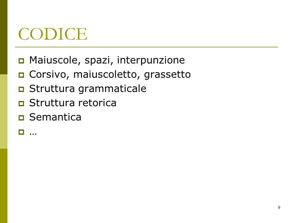 9 CODICE Maiuscole, spazi, interpunzione Corsivo, maiuscoletto, grassetto Struttura grammaticale Struttura retorica Semantica …