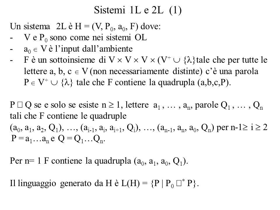 Sistemi 1L e 2L (1) Un sistema 2L è H = (V, P 0, a 0, F) dove: -V e P 0 sono come nei sistemi OL -a 0 V è linput dallambiente -F è un sottoinsieme di V V V (V + { }tale che per tutte le lettere a, b, c V (non necessariamente distinte) cè una parola P V + { } tale che F contiene la quadrupla (a,b,c,P).