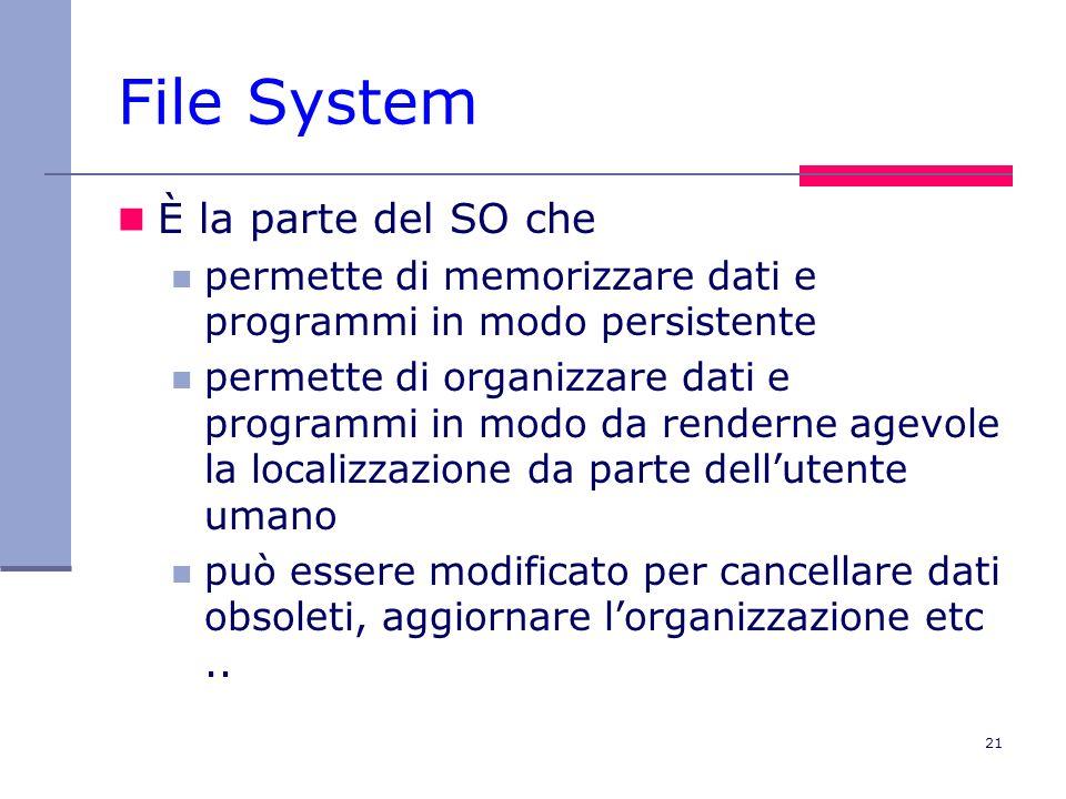 21 File System È la parte del SO che permette di memorizzare dati e programmi in modo persistente permette di organizzare dati e programmi in modo da renderne agevole la localizzazione da parte dellutente umano può essere modificato per cancellare dati obsoleti, aggiornare lorganizzazione etc..