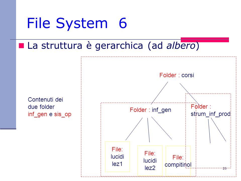 26 File System 6 La struttura è gerarchica (ad albero) File: lucidi lez2 File: compitinoI Folder : inf_gen Folder : corsi Folder : strum_inf_prod File: lucidi lez1 Contenuti dei due folder inf_gen e sis_op