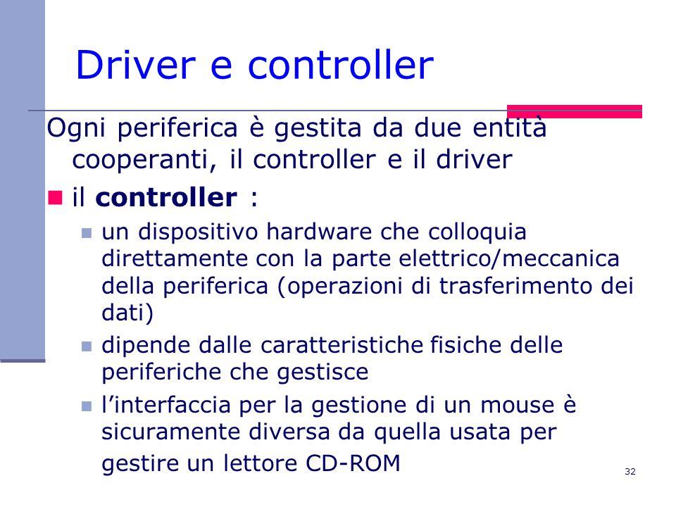 32 Driver e controller Ogni periferica è gestita da due entità cooperanti, il controller e il driver il controller : un dispositivo hardware che colloquia direttamente con la parte elettrico/meccanica della periferica (operazioni di trasferimento dei dati) dipende dalle caratteristiche fisiche delle periferiche che gestisce linterfaccia per la gestione di un mouse è sicuramente diversa da quella usata per gestire un lettore CD-ROM
