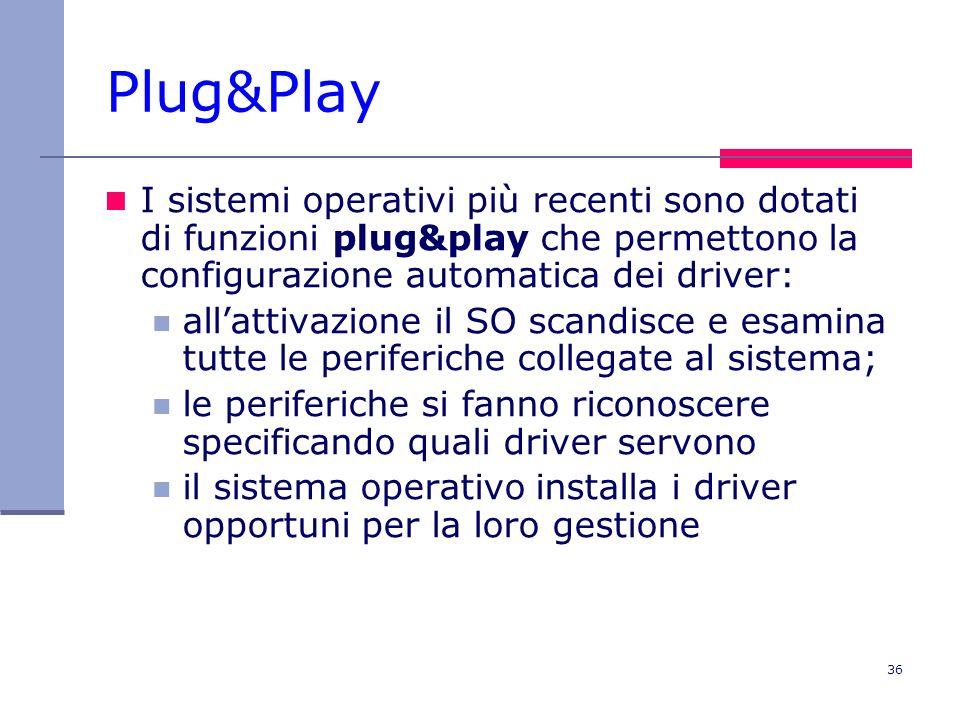 36 Plug&Play I sistemi operativi più recenti sono dotati di funzioni plug&play che permettono la configurazione automatica dei driver: allattivazione il SO scandisce e esamina tutte le periferiche collegate al sistema; le periferiche si fanno riconoscere specificando quali driver servono il sistema operativo installa i driver opportuni per la loro gestione