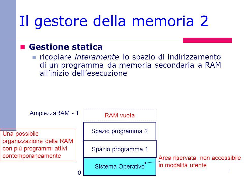 5 Il gestore della memoria 2 Gestione statica ricopiare interamente lo spazio di indirizzamento di un programma da memoria secondaria a RAM allinizio dellesecuzione Sistema Operativo Spazio programma 1 Area riservata, non accessibile in modalità utente Una possibile organizzazione della RAM con più programmi attivi contemporaneamente 0 AmpiezzaRAM - 1 Spazio programma 2 RAM vuota