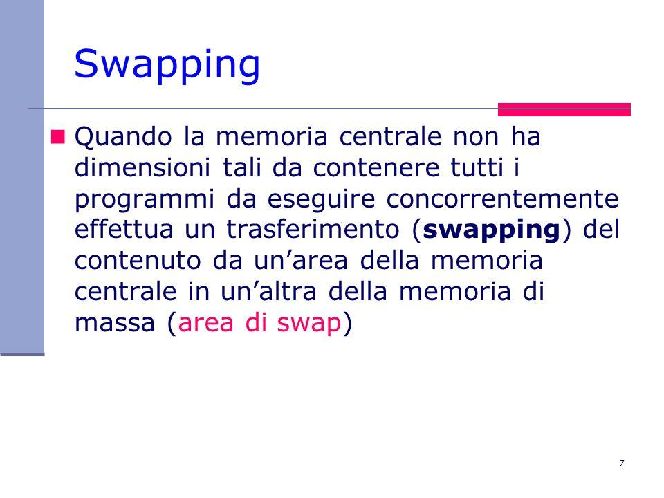 7 Swapping Quando la memoria centrale non ha dimensioni tali da contenere tutti i programmi da eseguire concorrentemente effettua un trasferimento (swapping) del contenuto da unarea della memoria centrale in unaltra della memoria di massa (area di swap)
