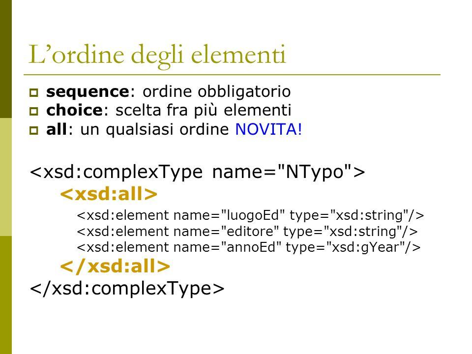 Lordine degli elementi sequence: ordine obbligatorio choice: scelta fra più elementi all: un qualsiasi ordine NOVITA!