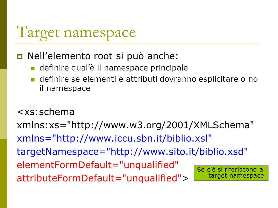 Target namespace Nellelemento root si può anche: definire qualè il namespace principale definire se elementi e attributi dovranno esplicitare o no il namespace <xs:schema xmlns:xs= http://www.w3.org/2001/XMLSchema xmlns= http://www.iccu.sbn.it/biblio.xsl targetNamespace= http://www.sito.it/biblio.xsd elementFormDefault= unqualified attributeFormDefault= unqualified > Se cè si riferiscono al target namespace