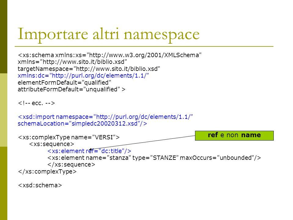 Importare altri namespace <xs:schema xmlns:xs= http://www.w3.org/2001/XMLSchema xmlns= http://www.sito.it/biblio.xsd targetNamespace= http://www.sito.it/biblio.xsd xmlns:dc= http://purl.org/dc/elements/1.1/ elementFormDefault= qualified attributeFormDefault= unqualified > <xsd:import namespace= http://purl.org/dc/elements/1.1/ schemaLocation= simpledc20020312.xsd /> ref e non name