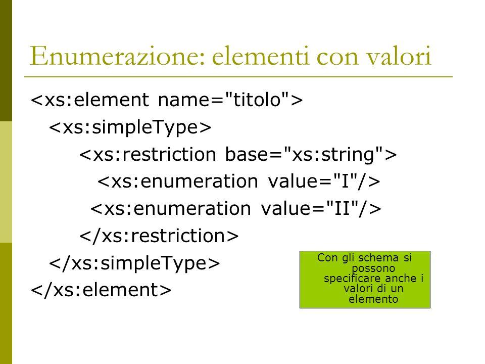 Enumerazione: elementi con valori Con gli schema si possono specificare anche i valori di un elemento