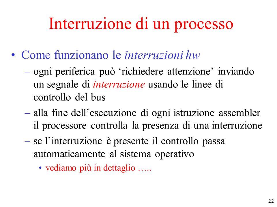 22 Interruzione di un processo Come funzionano le interruzioni hw –ogni periferica può richiedere attenzione inviando un segnale di interruzione usand