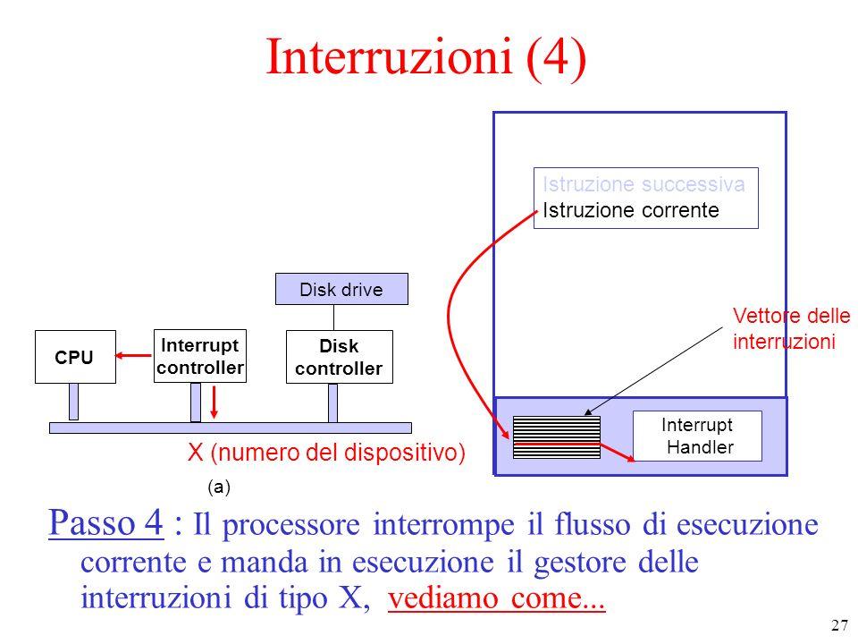 27 Interruzioni (4) Passo 4 : Il processore interrompe il flusso di esecuzione corrente e manda in esecuzione il gestore delle interruzioni di tipo X,