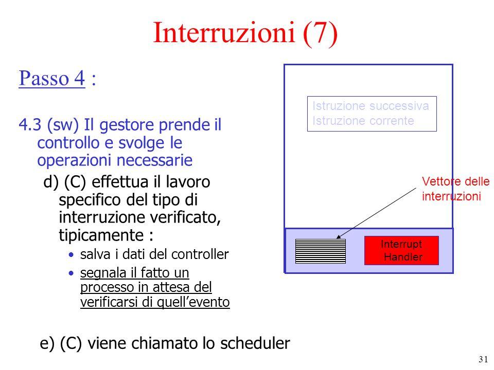 31 Interruzioni (7) Passo 4 : 4.3 (sw) Il gestore prende il controllo e svolge le operazioni necessarie d) (C) effettua il lavoro specifico del tipo d
