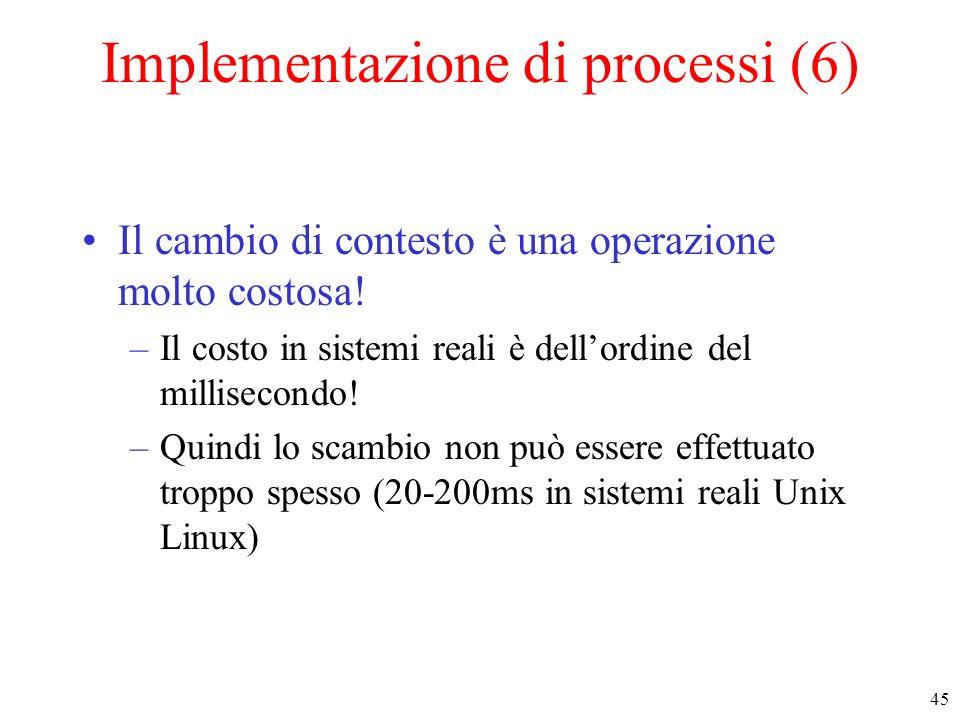 45 Implementazione di processi (6) Il cambio di contesto è una operazione molto costosa! –Il costo in sistemi reali è dellordine del millisecondo! –Qu