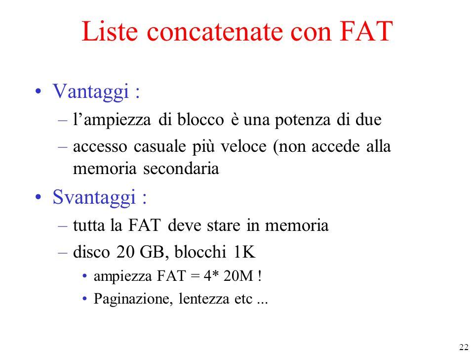 22 Liste concatenate con FAT Vantaggi : –lampiezza di blocco è una potenza di due –accesso casuale più veloce (non accede alla memoria secondaria Svantaggi : –tutta la FAT deve stare in memoria –disco 20 GB, blocchi 1K ampiezza FAT = 4* 20M .