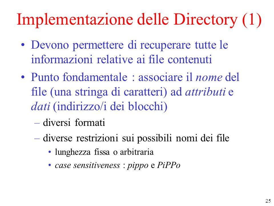 25 Implementazione delle Directory (1) Devono permettere di recuperare tutte le informazioni relative ai file contenuti Punto fondamentale : associare il nome del file (una stringa di caratteri) ad attributi e dati (indirizzo/i dei blocchi) –diversi formati –diverse restrizioni sui possibili nomi dei file lunghezza fissa o arbitraria case sensitiveness : pippo e PiPPo