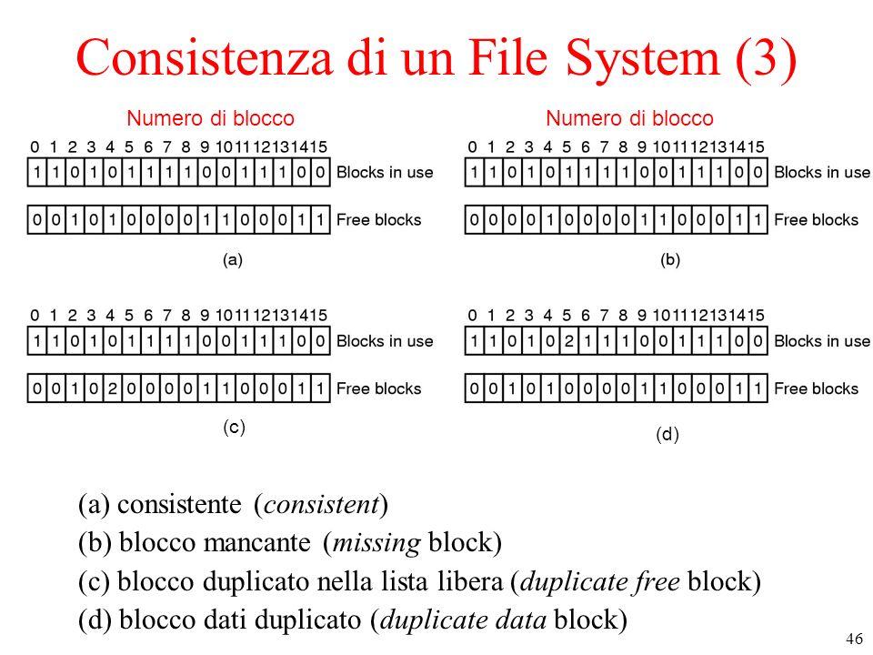 46 Consistenza di un File System (3) (a) consistente (consistent) (b) blocco mancante (missing block) (c) blocco duplicato nella lista libera (duplicate free block) (d) blocco dati duplicato (duplicate data block) Numero di blocco (c) (d)