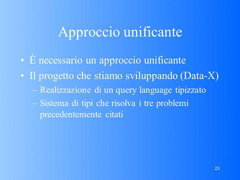 23 Approccio unificante È necessario un approccio unificante Il progetto che stiamo sviluppando (Data-X) –Realizzazione di un query language tipizzato –Sistema di tipi che risolva i tre problemi precedentemente citati