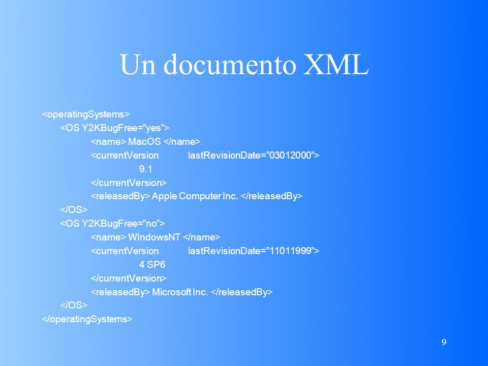 9 Un documento XML MacOS 9.1 Apple Computer Inc. WIndowsNT 4 SP6 Microsoft Inc.