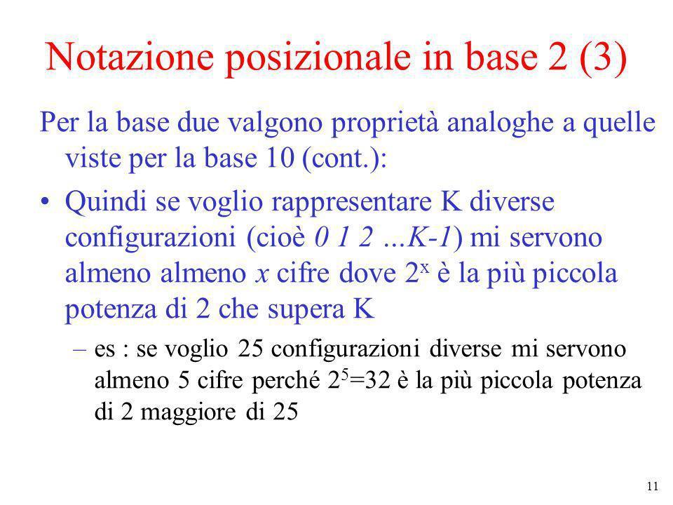 11 Notazione posizionale in base 2 (3) Per la base due valgono proprietà analoghe a quelle viste per la base 10 (cont.): Quindi se voglio rappresentar