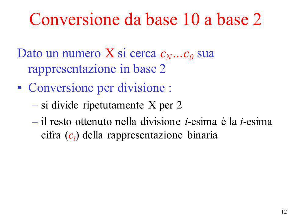 12 Conversione da base 10 a base 2 Dato un numero X si cerca c N …c 0 sua rappresentazione in base 2 Conversione per divisione : –si divide ripetutame