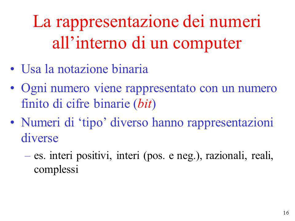 16 La rappresentazione dei numeri allinterno di un computer Usa la notazione binaria Ogni numero viene rappresentato con un numero finito di cifre bin
