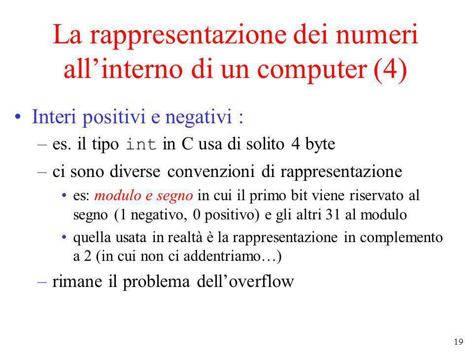 19 La rappresentazione dei numeri allinterno di un computer (4) Interi positivi e negativi : –es. il tipo int in C usa di solito 4 byte –ci sono diver