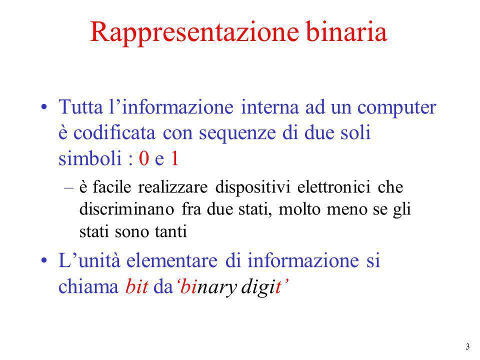 4 Rappresentazione binaria (2) Vedremo prima come rappresentare i numeri sequenze di 0 e 1 Poi discuteremo la rappresentazione di insiemi di oggetti finiti (caratteri, giorni della settimana, operazioni elementari etc…) Infine discuteremo la rappresentazione di insiemi infiniti (es.