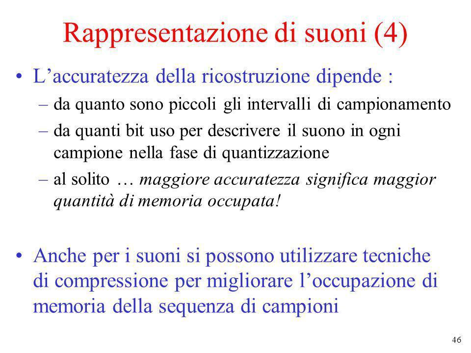 46 Rappresentazione di suoni (4) Laccuratezza della ricostruzione dipende : –da quanto sono piccoli gli intervalli di campionamento –da quanti bit uso