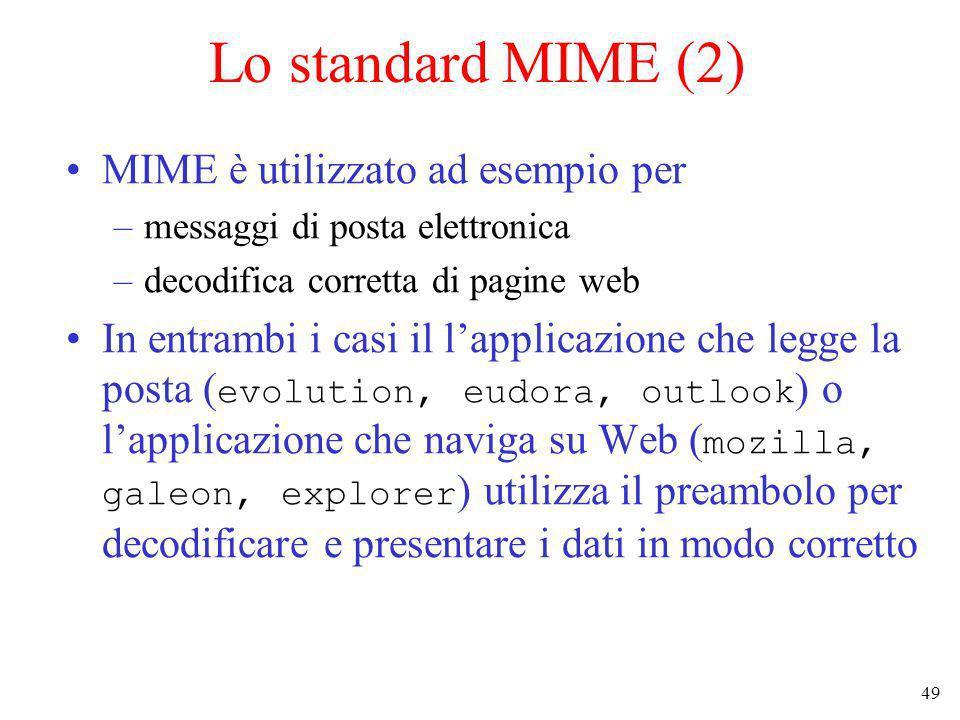 49 Lo standard MIME (2) MIME è utilizzato ad esempio per –messaggi di posta elettronica –decodifica corretta di pagine web In entrambi i casi il lappl