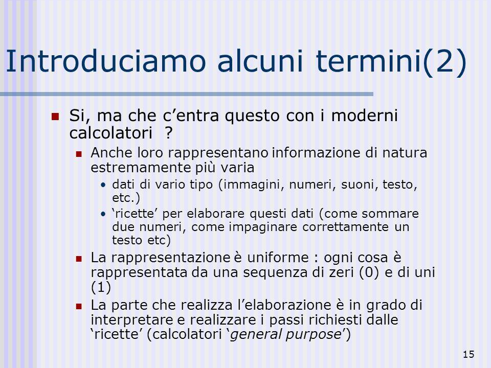 15 Introduciamo alcuni termini(2) Si, ma che centra questo con i moderni calcolatori .