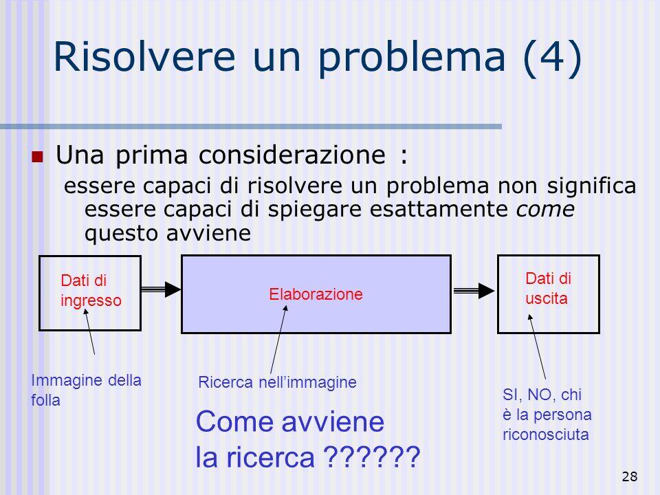 28 Risolvere un problema (4) Una prima considerazione : essere capaci di risolvere un problema non significa essere capaci di spiegare esattamente come questo avviene Dati di ingresso Immagine della folla Elaborazione Ricerca nellimmagine SI, NO, chi è la persona riconosciuta Dati di uscita Come avviene la ricerca