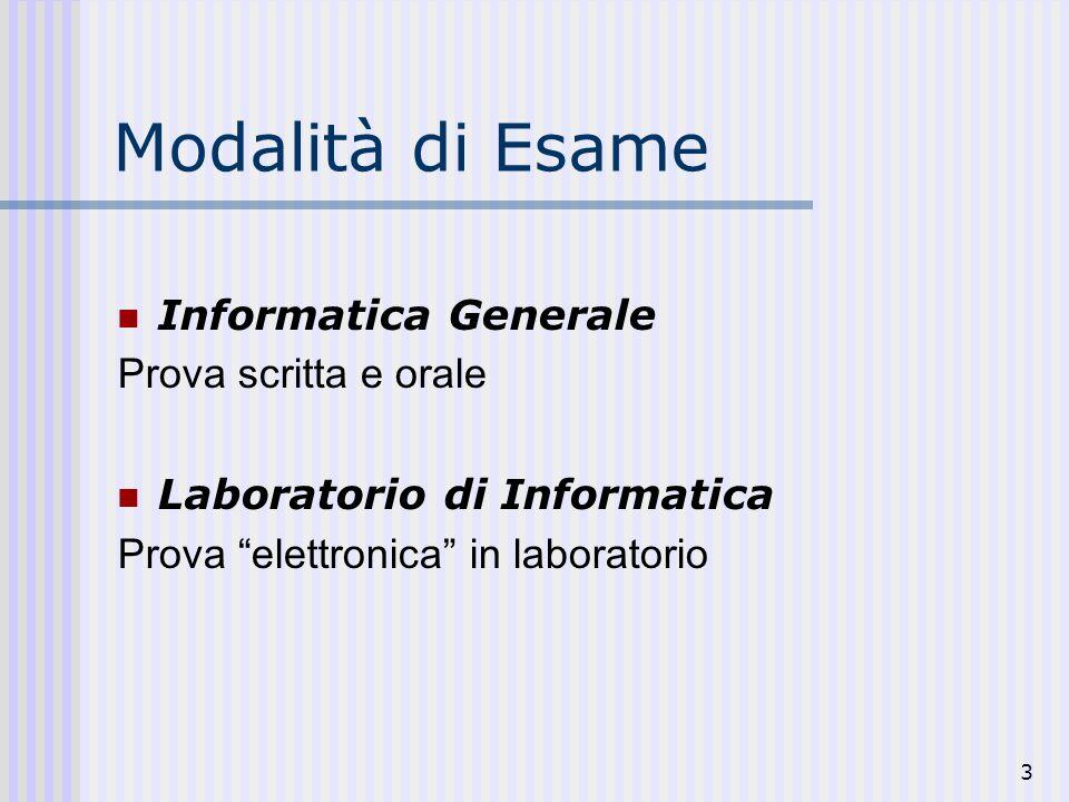 3 Modalità di Esame Informatica Generale Prova scritta e orale Laboratorio di Informatica Prova elettronica in laboratorio