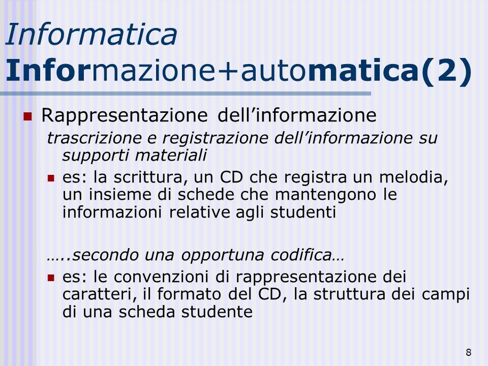8 Informatica Informazione+automatica(2) Rappresentazione dellinformazione trascrizione e registrazione dellinformazione su supporti materiali es: la scrittura, un CD che registra un melodia, un insieme di schede che mantengono le informazioni relative agli studenti …..secondo una opportuna codifica… es: le convenzioni di rappresentazione dei caratteri, il formato del CD, la struttura dei campi di una scheda studente