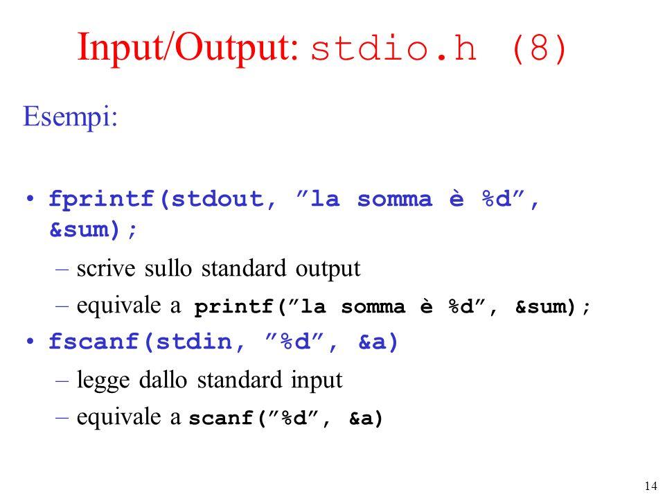 14 Input/Output: stdio.h (8) Esempi: fprintf(stdout, la somma è %d, &sum); –scrive sullo standard output –equivale a printf(la somma è %d, &sum); fsca