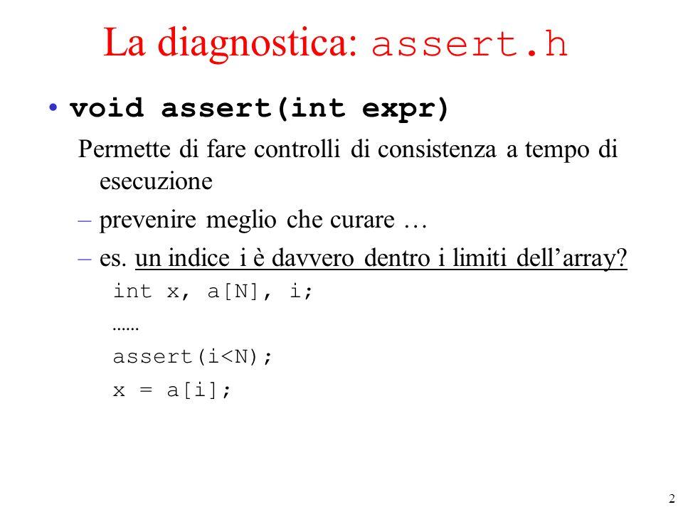 2 La diagnostica: assert.h void assert(int expr) Permette di fare controlli di consistenza a tempo di esecuzione –prevenire meglio che curare … –es. u