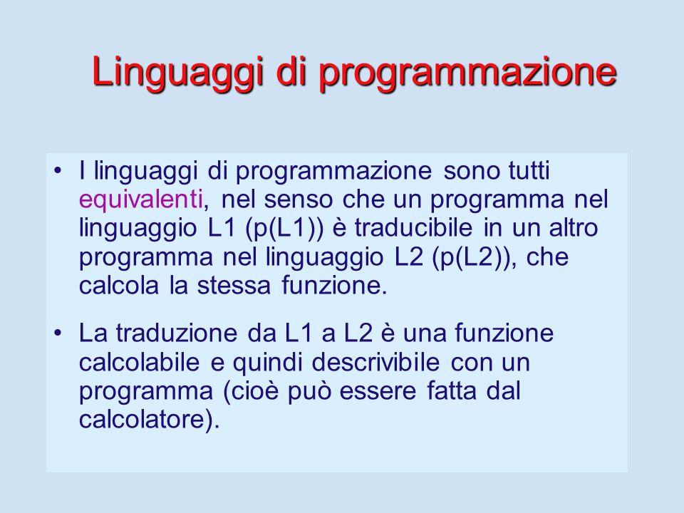 La programmazione Una delle attività principali di un informatico (forse la principale) è quella di scrivere programmi che il calcolatore esegue.